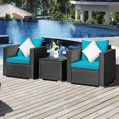Costway 3PCS Patio Rattan Sofa Set