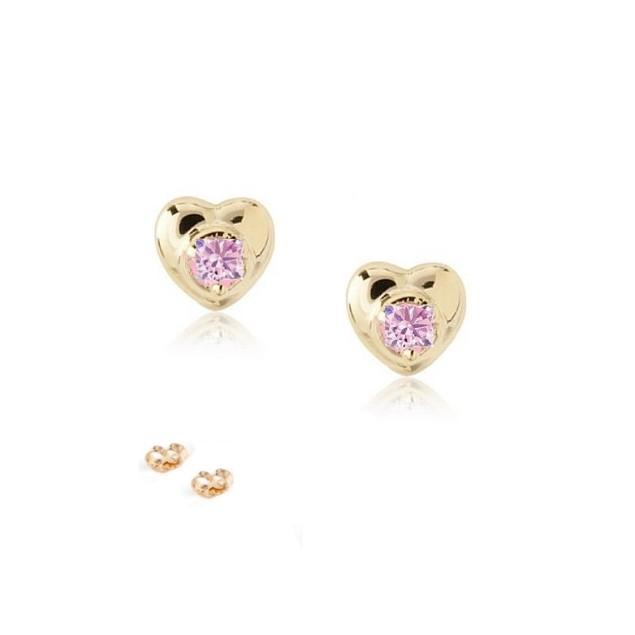 18K Gold Plated Heart Shape W/ Pink Cubic Zirconia Children's Post Earrings.