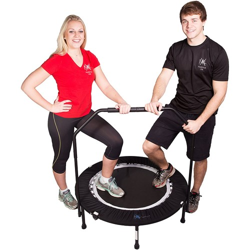 MaXimus PRO Folding Rebounder USA | Voted #1 Indoor Exercise Mini Trampoline For Adults With Bar
