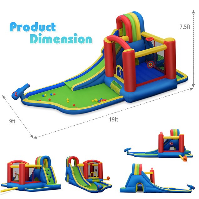 Costway Inflatable Kid Bounce House Castle Pool