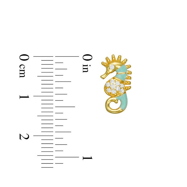 18K Yellow Gold Plated  Light Green Enameled & Cubic Zirconia Sea Hourse Post Earrings