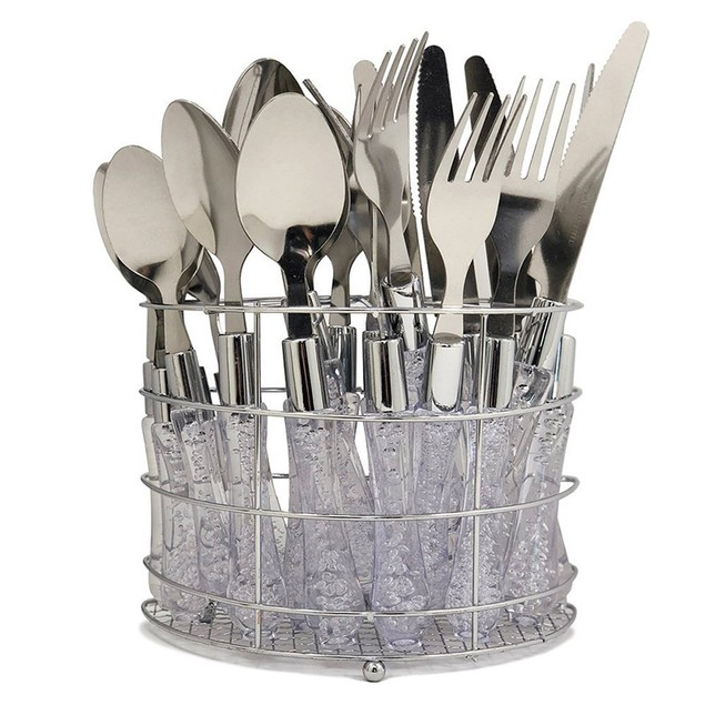 20-Piece Set: Stainless Steel Flatware for 5 with Storage Rack