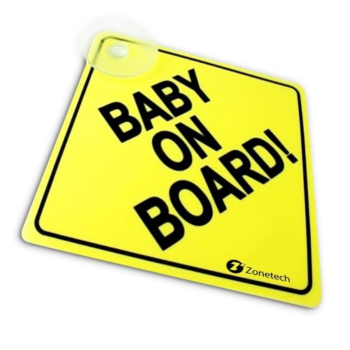 """Zone Tech Baby On Board Rusable Safety Sign Decal with Suction Cup 5""""x5"""""""