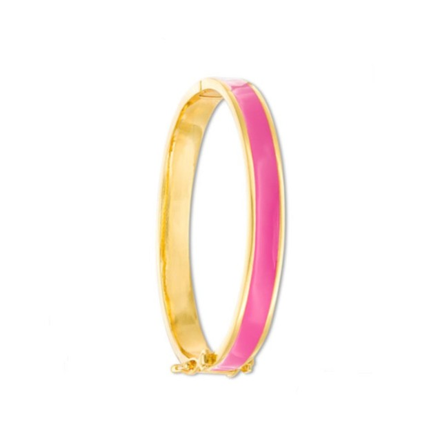 18K Gold Plated Classic Pink Enameled Bangle Bracelets(2 Sizes-M-45mm-L-50mm)
