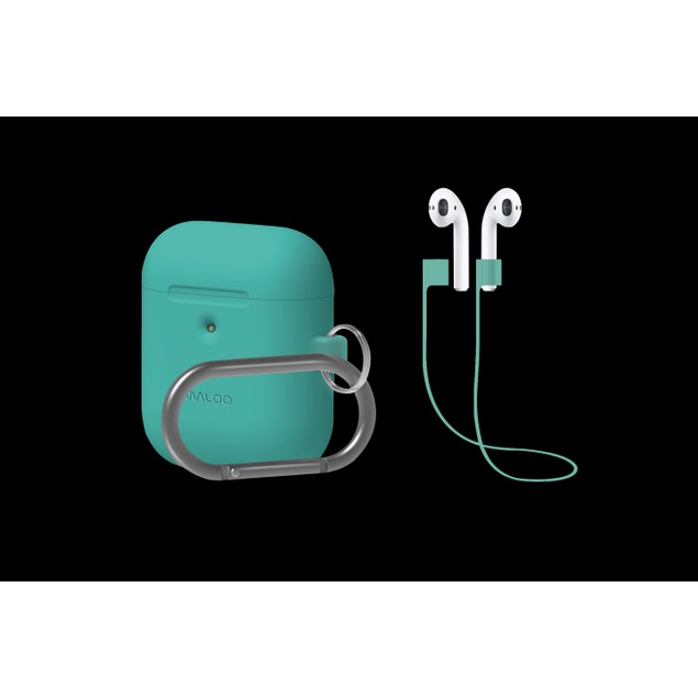 Premium Silicone Case for Apple AirPods w/ Carabiner & AirPods Strap