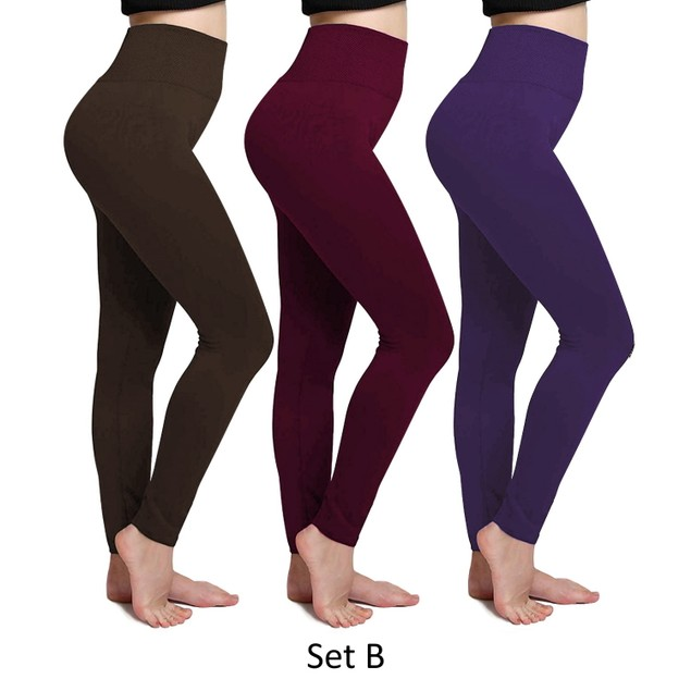 3-Pack Women's Cozy Fleece-Lined Seamless Leggings
