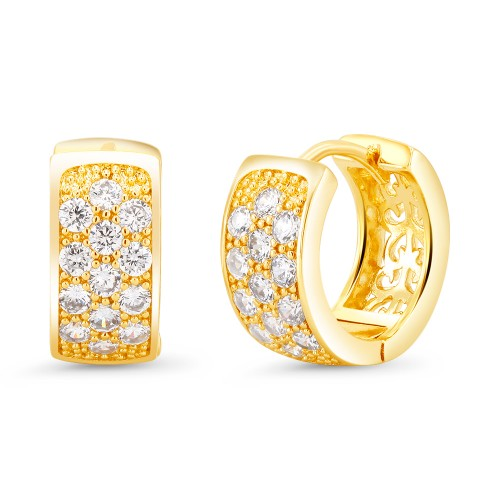 18kt Yellow Fancy Mini Goldtone Cubic zirconia  Huggie Earrings
