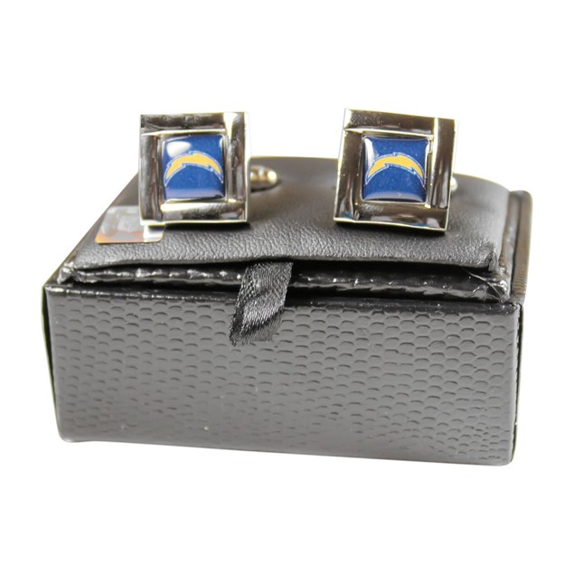 NFL Square Cufflinks with Square Shape Engraved Logo Design Gift Box
