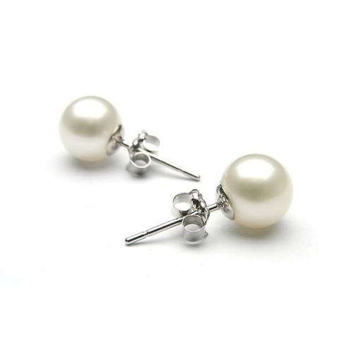 18k White Gold Plated 8mm Pearl Earrings