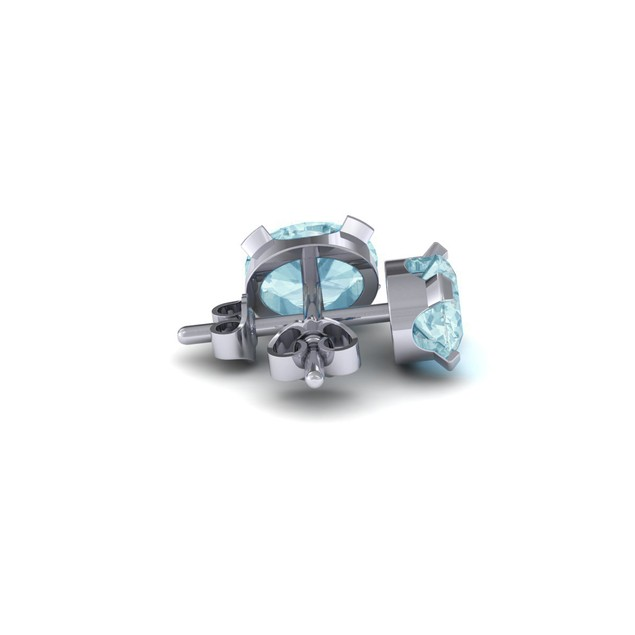 1.35cttw Oval-Cut Aquamarine Necklace & Earring Set In Sterling Silver