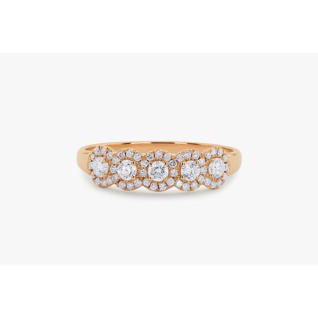 18kt Rose Gold Five Circle Band Ring