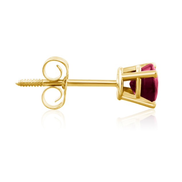 1/2ct Ruby Stud Earrings in 14k Yellow Gold