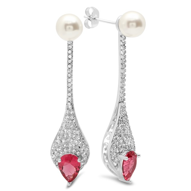 Drop Earrings with Simulated Ruby