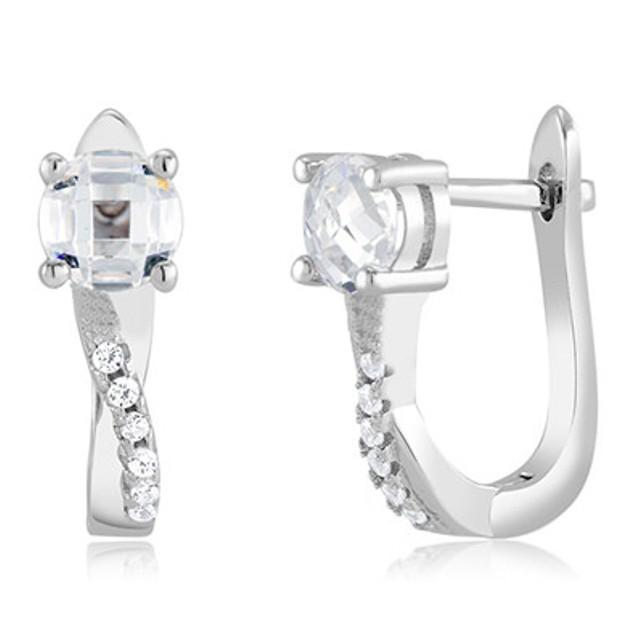Sterling Silver Simulated Diamond Fancy Hoops - Twist
