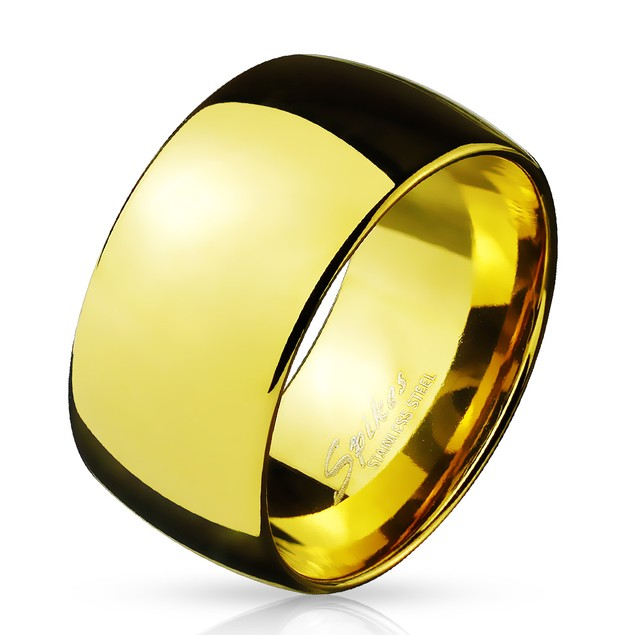 Wide Dome Gold Tone Stainless Steel Band Ring