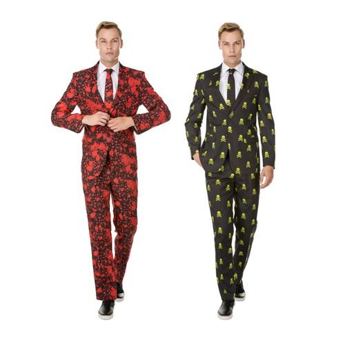 Braveman Men's Halloween 2-Piece Suits with Free Matching Tie