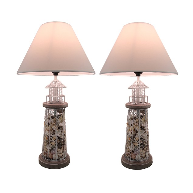 Set Of 2 Seashell Filled Metal Mesh Lighthouse Table Lamps