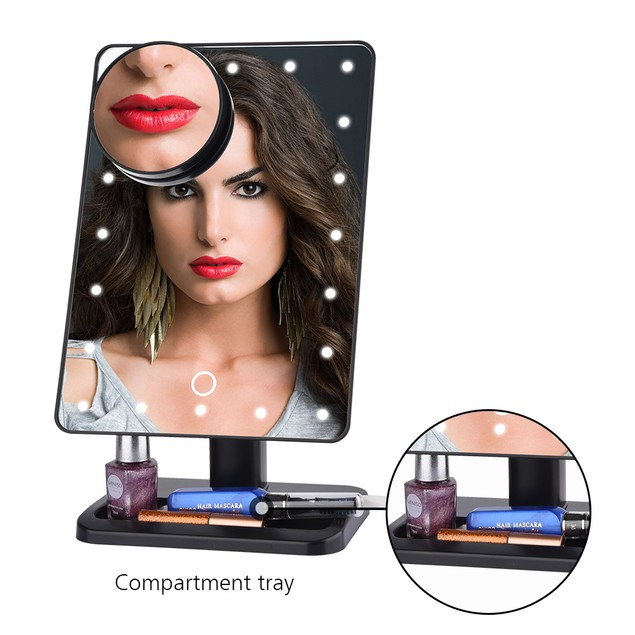 LED Makeup Mirror With Bluetooth Speaker + Magnifier
