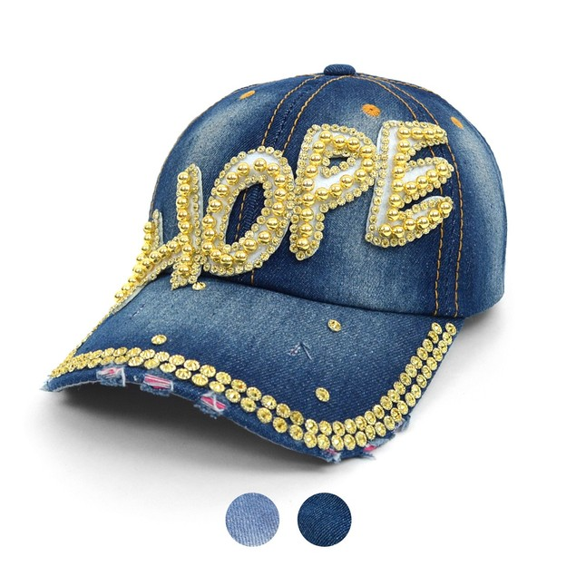 Bling Studs Denim Baseball Cap