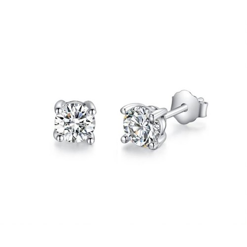 0.925 Sterling Silver Rhodium Finished Round Clear White Cubic Zirconia Stud Post Earrings- 5 sizes