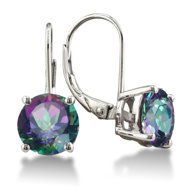 Sterling Silver Gemstone Leverback Earrings - 3 Colors
