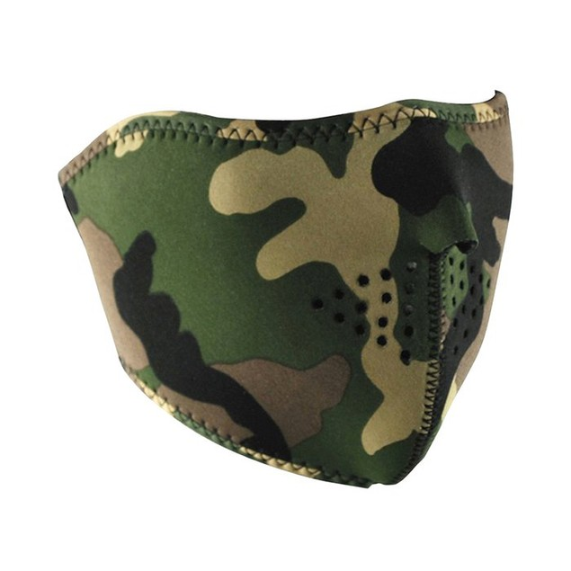 Neoprene 1/2 Face Mask - Woodland Camouflage