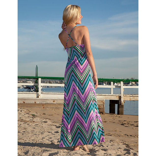 White Mark Pink Chevron Maxi Dress
