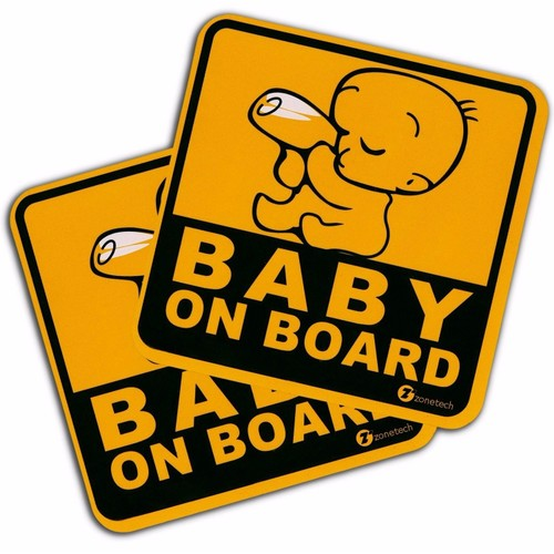 """Zone Tech 2x """"Baby On Board"""" Vehicle Safety Reflective Magnet Bumper Decal"""
