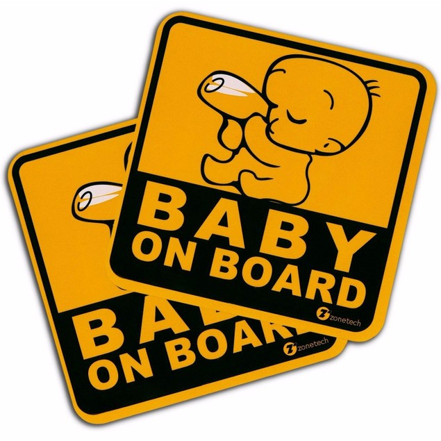 "Zone Tech 2x ""Baby On Board"" Vehicle Safety Reflective Magnet Bumper Decal"