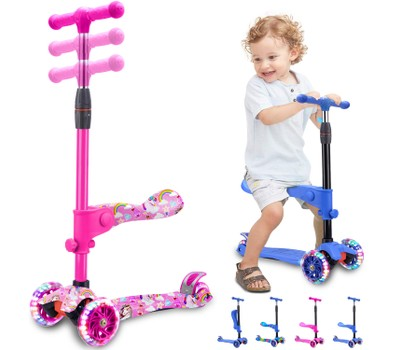 Rugged Racers 2-in-1 Kick Scooter with Removable Seat and LED Wheels Was: $89.99 Now: $44.99.