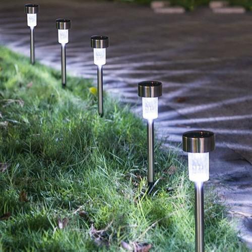 24-Pack Stainless Steel Solar Powered Pathway Garden Light