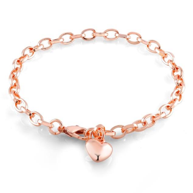 Oval Link Heart Charm Bracelet - 3 Colors