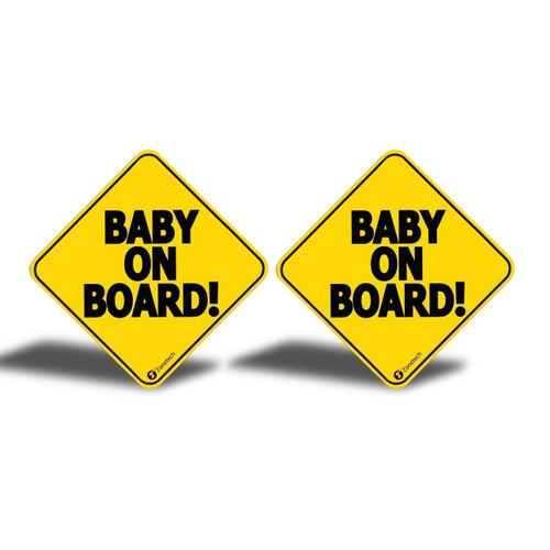 """2-Pack Zone Tech Reflective Baby on Board Car Decal Magnet Sign 5x5"""""""