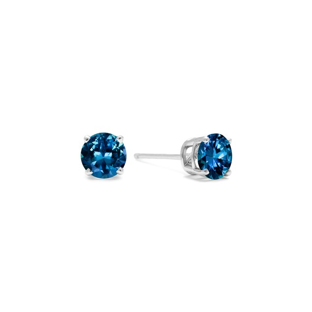 White Gold 1/5ct  Blue Diamond Stud Earrings