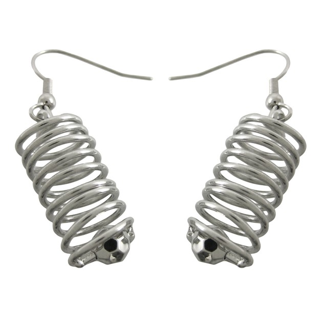 Chrome Spiral Wire Cylinder Necklace / Earrings Womens Earring And Necklace