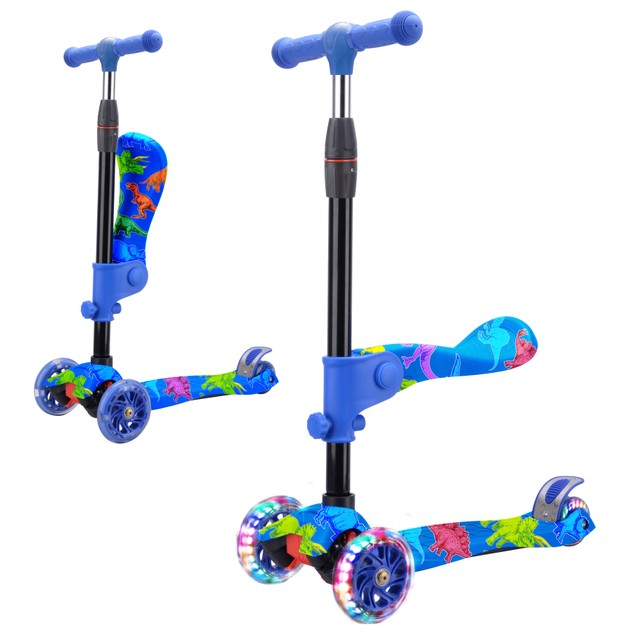 Rugged Racers 2-in-1 Kick Scooter w/ Removable Seat & LED Wheels