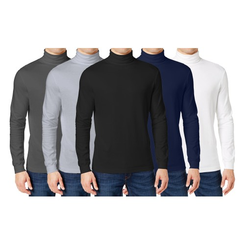 3-Pack Men's Long Sleeve Turtle Neck T-Shirt (Sizes, S to 2XL)