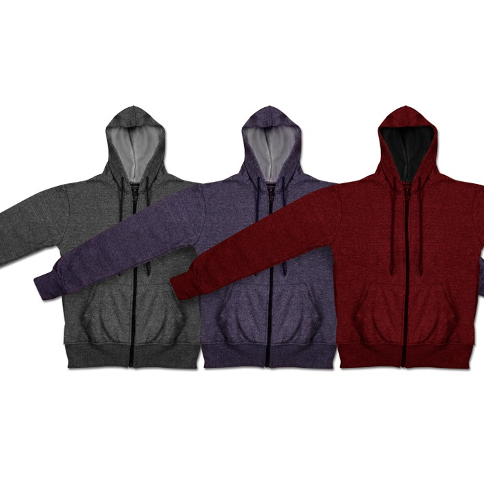 Moisture Wicking Fleece-Lined Full-Zip Up Marled Hoodie