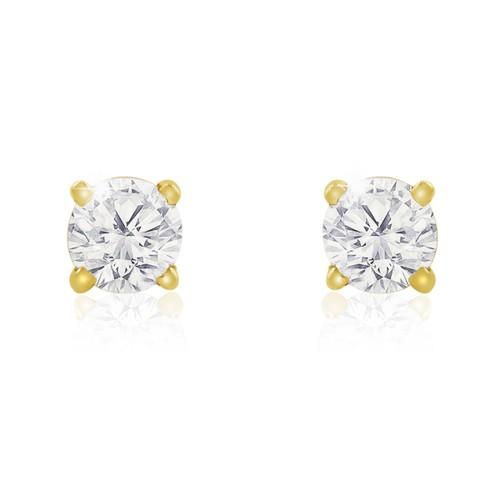 10k Yellow Gold 1/2 Carat Genuine Diamond Stud Earrings
