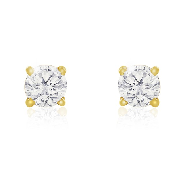 10k Yellow Gold 1/2 Carat Genuine Diamond Stud Earrings