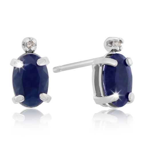 14k White Gold 1.25cttw Oval Sapphire and Diamond Earrings