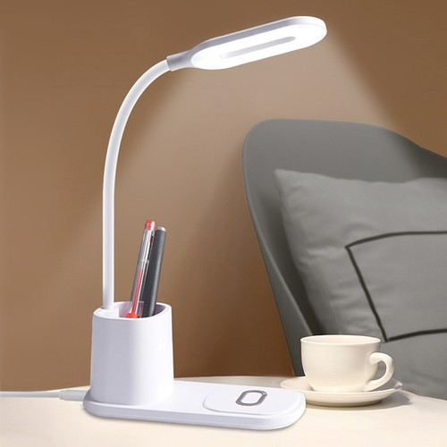 3-in-1 10W QI Fast Wireless Charging Stand Wireless Charger w/ Desk Lamp