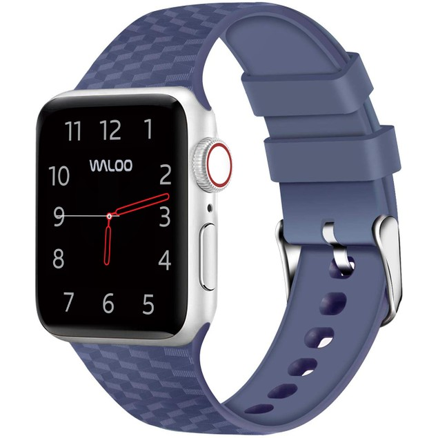 Waloo Carbon Fiber Silicone Band for Apple Watch Series 1, 2, 3, 4, & 5