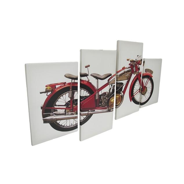4 Piece Vintage Motorcycle Canvas Wall Art Set Prints