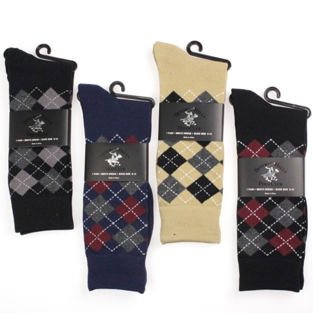4-Pairs Beverly Hills Polo Argyle Dress Socks
