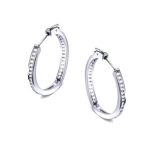 0.925 Sterling Silver 25mm Cubic Zircon Insideout Huggie Hoop Earrings