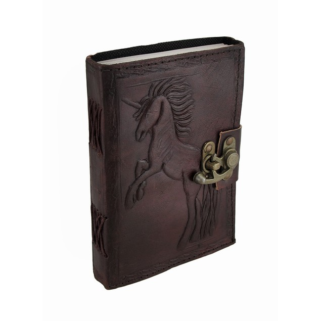 Jumping Unicorn Embossed Leather Journal W/Swing Art Sketchbooks And