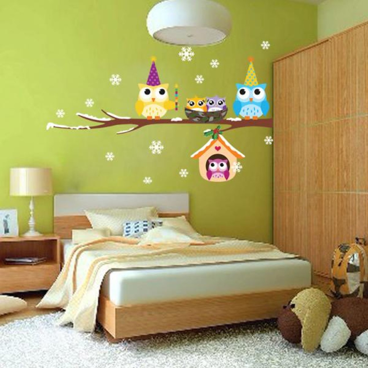Cute Owl Snowflake Wall Stickers Christmas Decor - Tanga