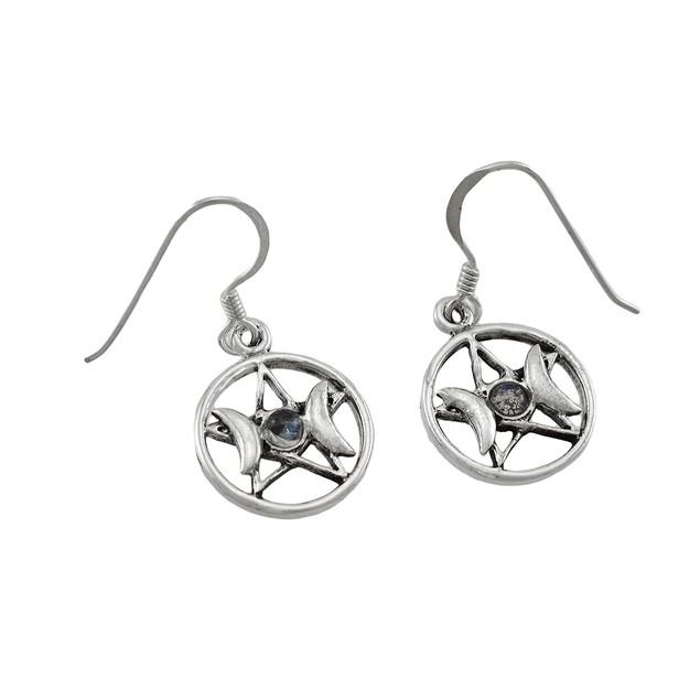 Sterling Silver White Stone Triple Goddess Dangle Earrings