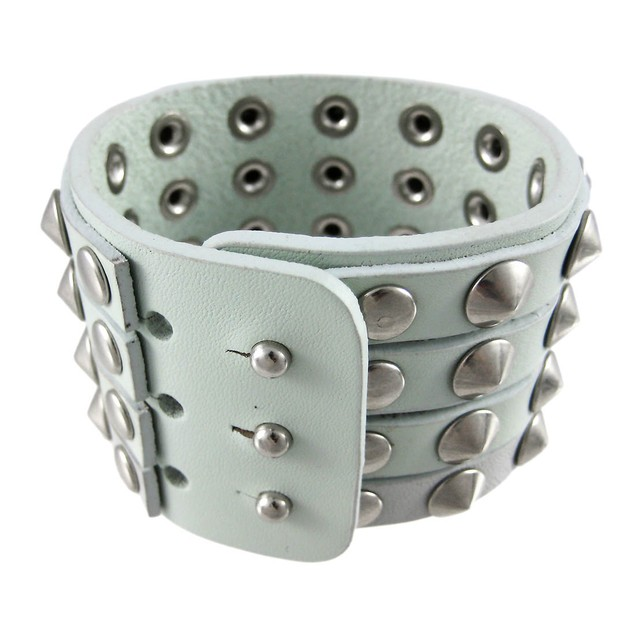 Gray Leather 4 Row Cone Spiked Wristband Blemished Mens Leather Bracelets